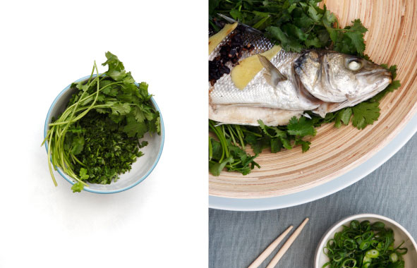 Fresh Herbs & Whole Steamed Black Bean Fish, School Of Wok Cook Book